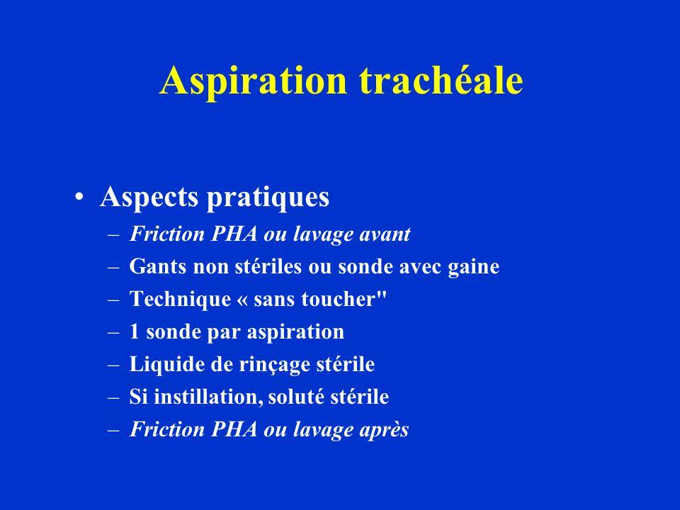 Aspiration trachéale Aspects pratiques Friction PHA ou lavage avant