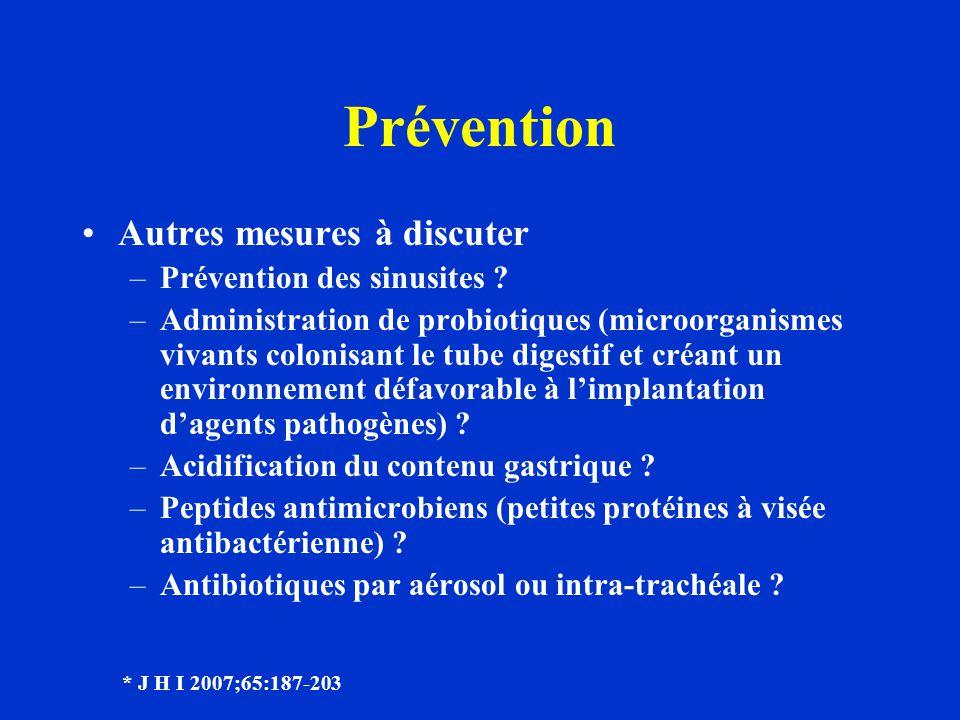 Prévention Autres mesures à discuter Prévention des sinusites