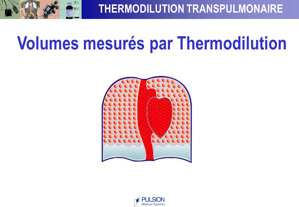 THERMODILUTION TRANSPULMONAIRE Volumes mesurés par Thermodilution