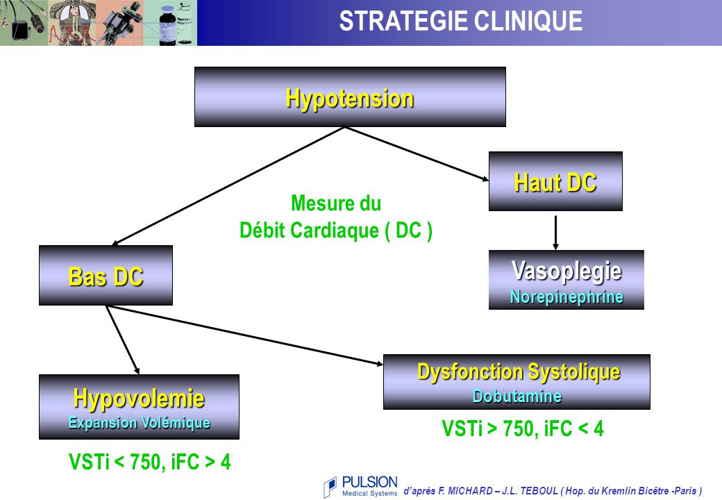 STRATEGIE CLINIQUE Hypotension artérielle Hypotension Haut DC Bas DC