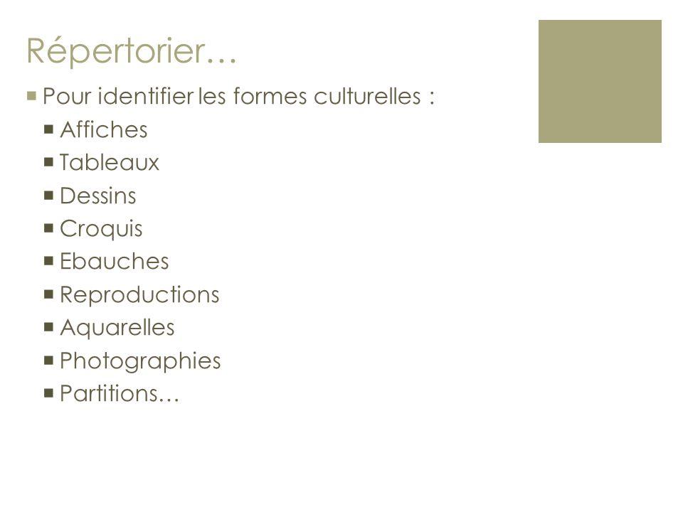 Répertorier… Pour identifier les formes culturelles : Affiches