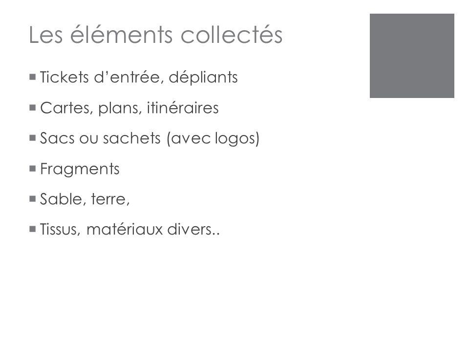 Les éléments collectés