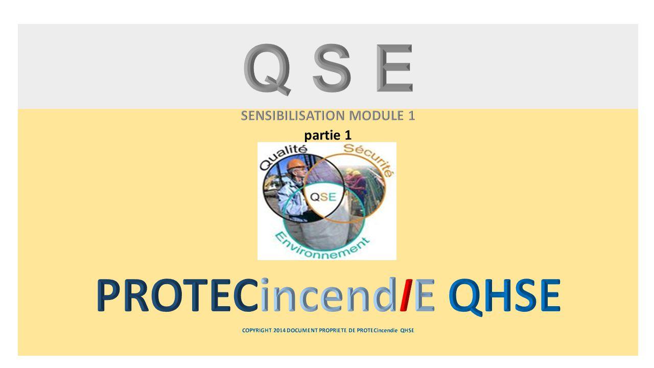 Q S E SENSIBILISATION MODULE 1 partie 1 PROTECincendIE QHSE