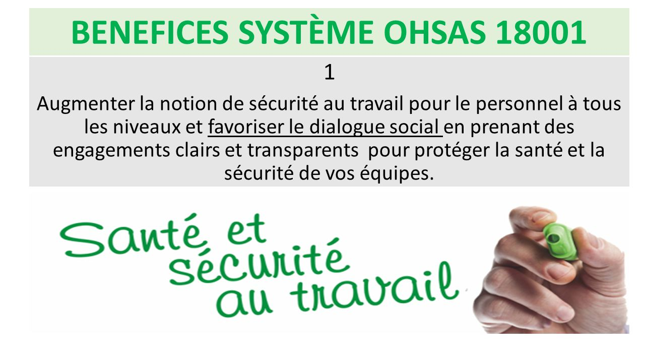 BENEFICES SYSTÈME OHSAS 18001