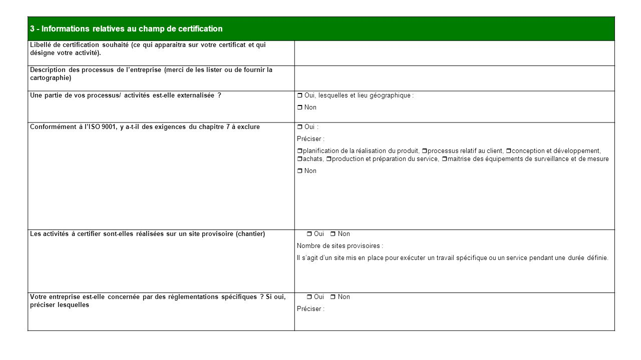 3 - Informations relatives au champ de certification