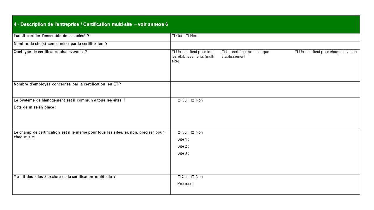 4 - Description de l'entreprise / Certification multi-site – voir annexe 6
