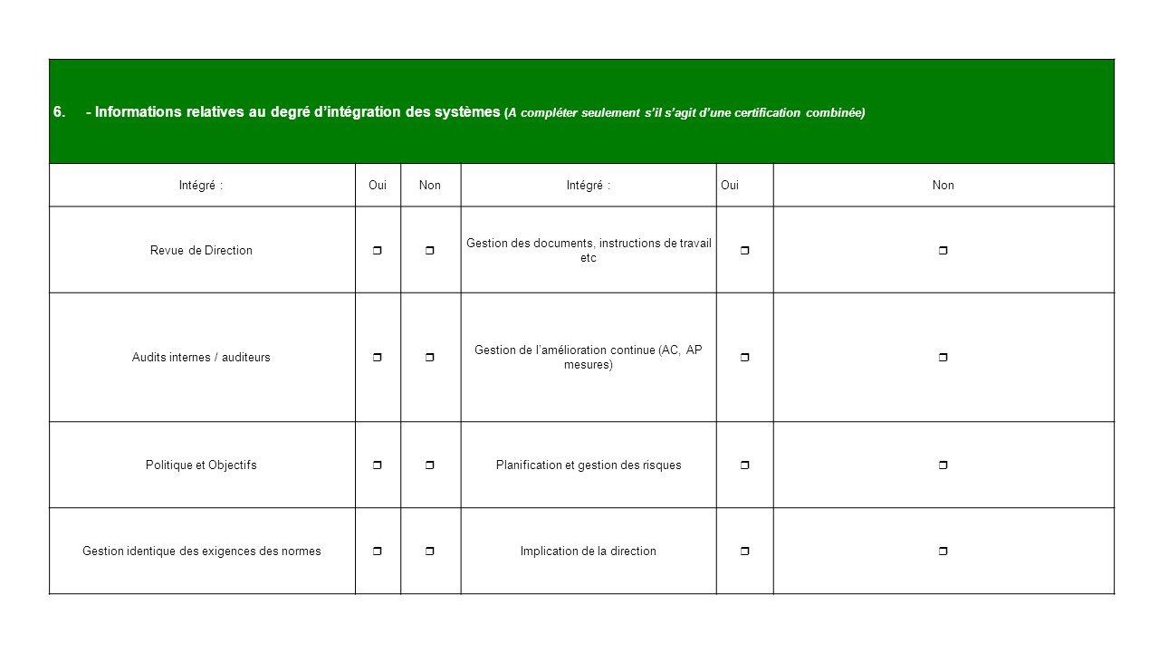 - Informations relatives au degré d'intégration des systèmes (A compléter seulement s'il s'agit d'une certification combinée)
