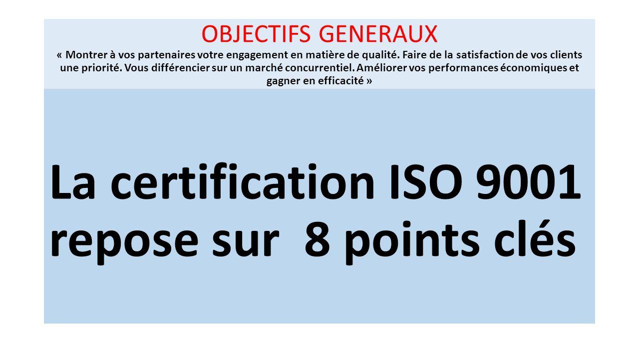 La certification ISO 9001 repose sur 8 points clés