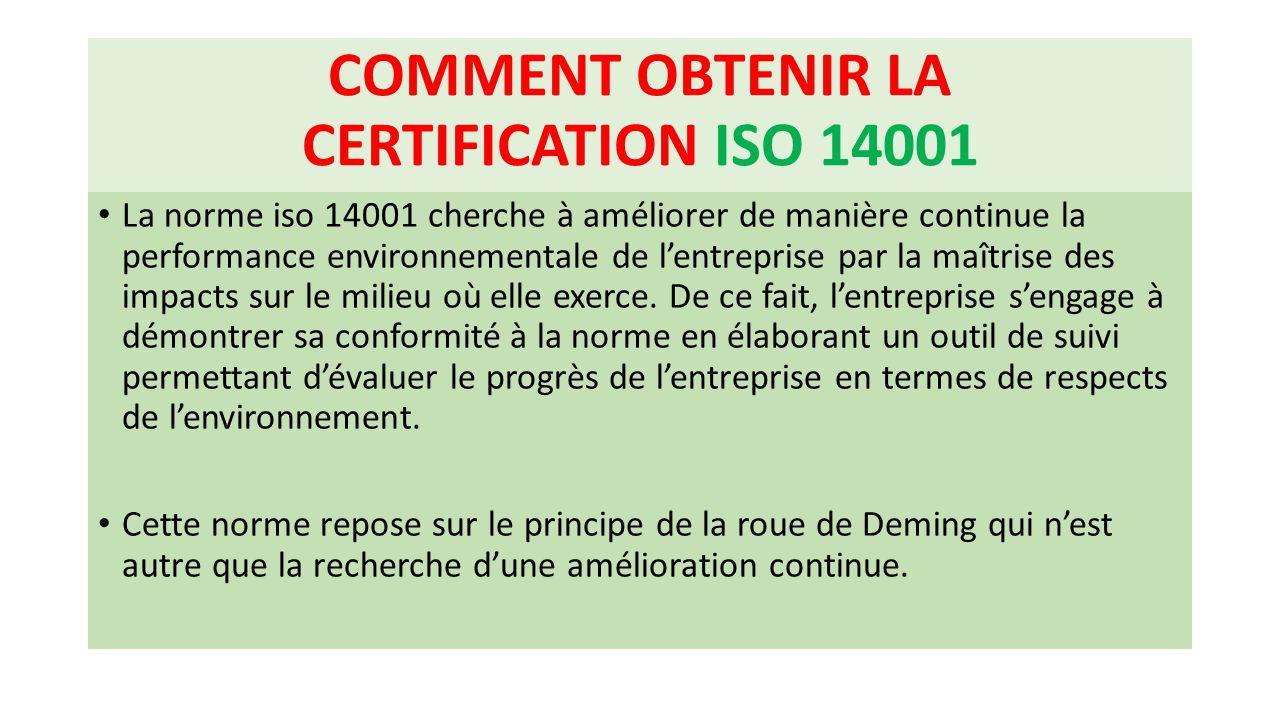 COMMENT OBTENIR LA CERTIFICATION ISO 14001