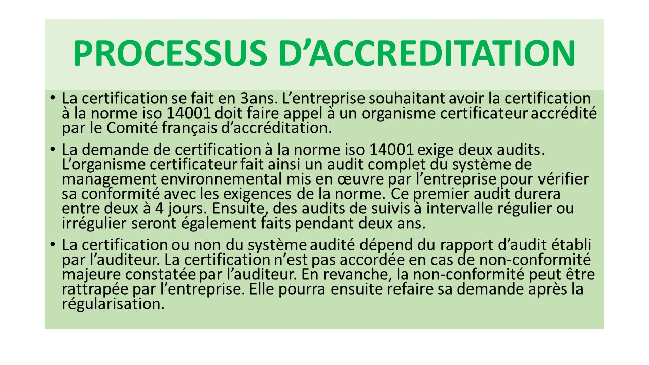 PROCESSUS D'ACCREDITATION