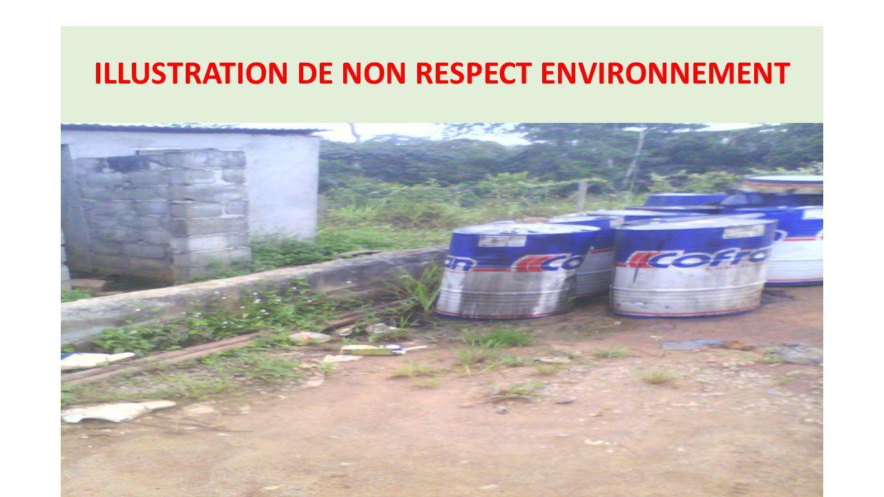 ILLUSTRATION DE NON RESPECT ENVIRONNEMENT