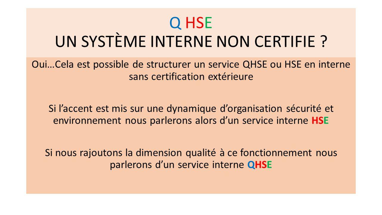 Q HSE UN SYSTÈME INTERNE NON CERTIFIE