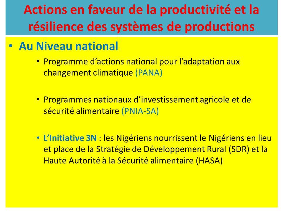 Actions en faveur de la productivité et la résilience des systèmes de productions