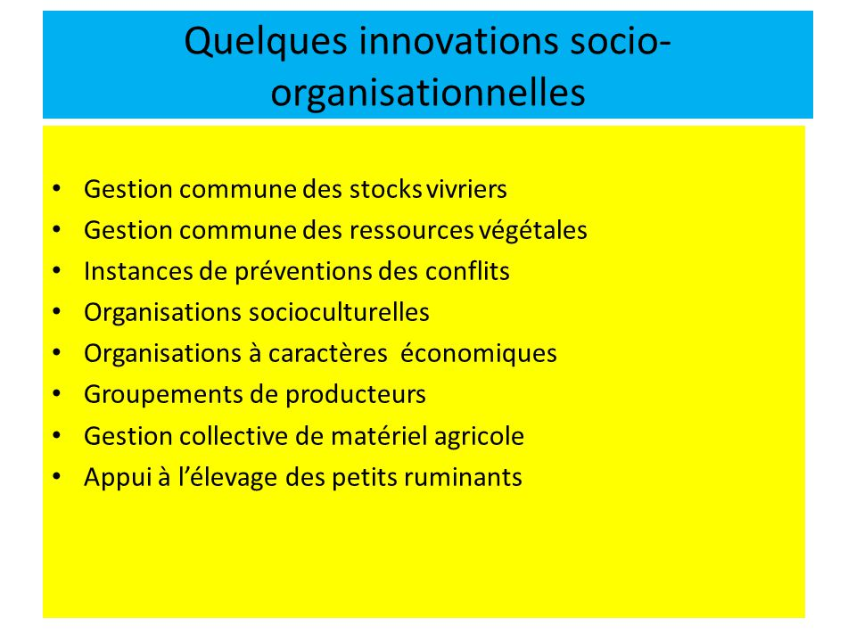 Quelques innovations socio-organisationnelles