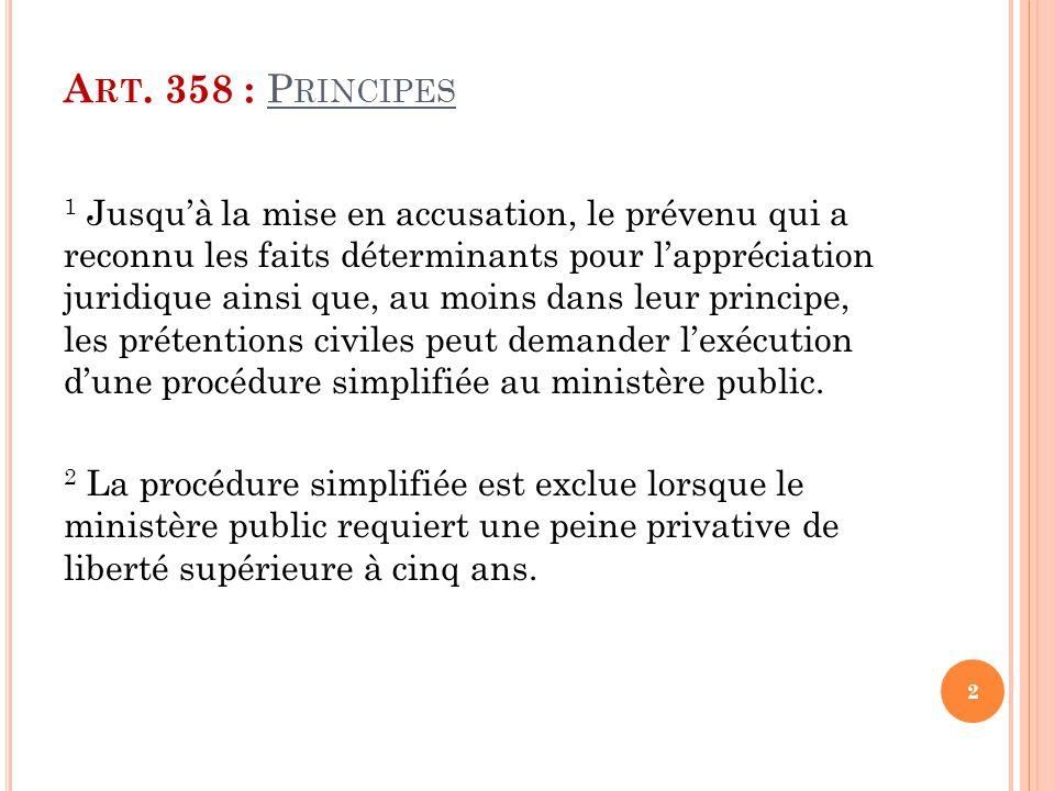 Art. 358 : Principes