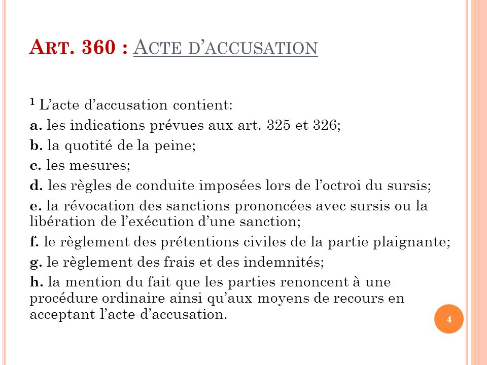 Art. 360 : Acte d'accusation