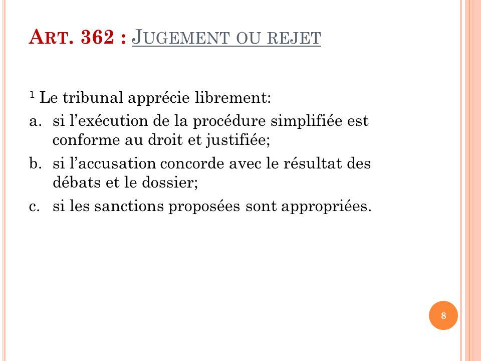 Art. 362 : Jugement ou rejet 1 Le tribunal apprécie librement: