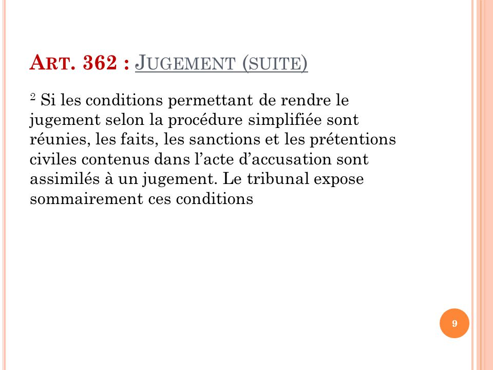 Art. 362 : Jugement (suite)