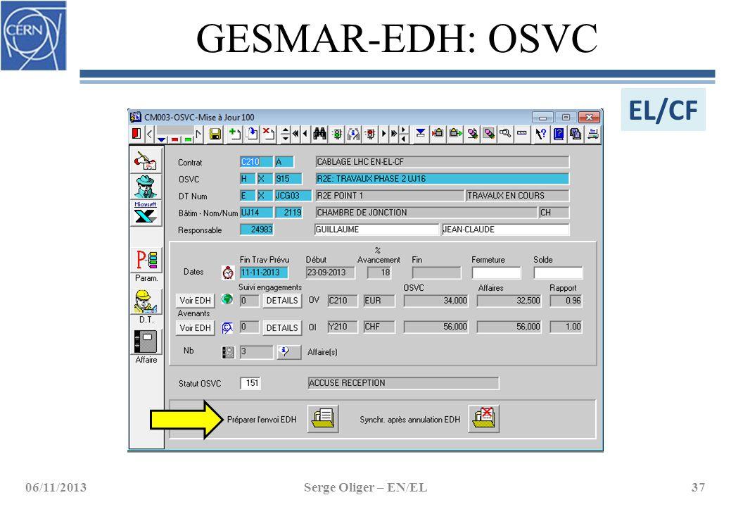 GESMAR-EDH: OSVC EL/CF 06/11/2013 Serge Oliger – EN/EL