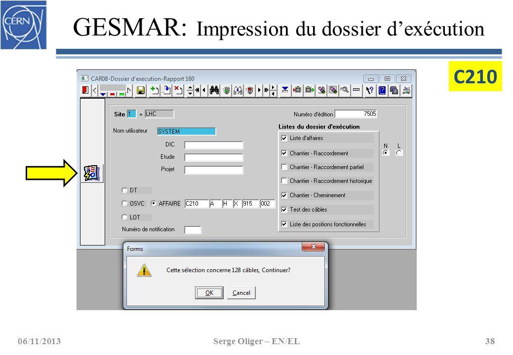 GESMAR: Impression du dossier d'exécution