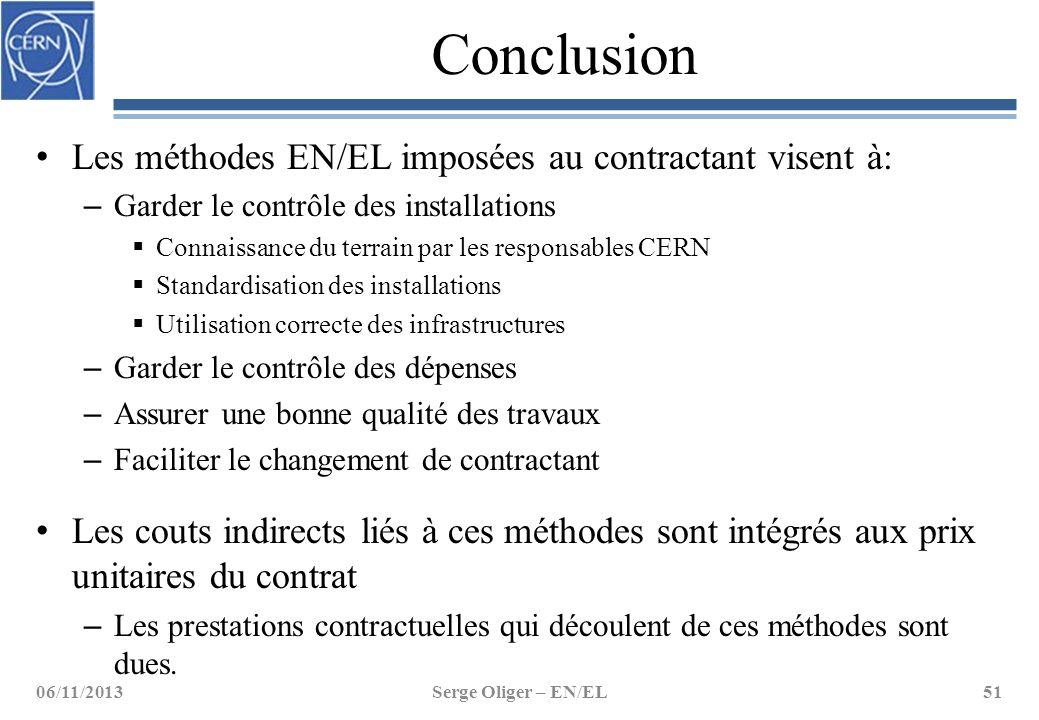 Conclusion Les méthodes EN/EL imposées au contractant visent à: