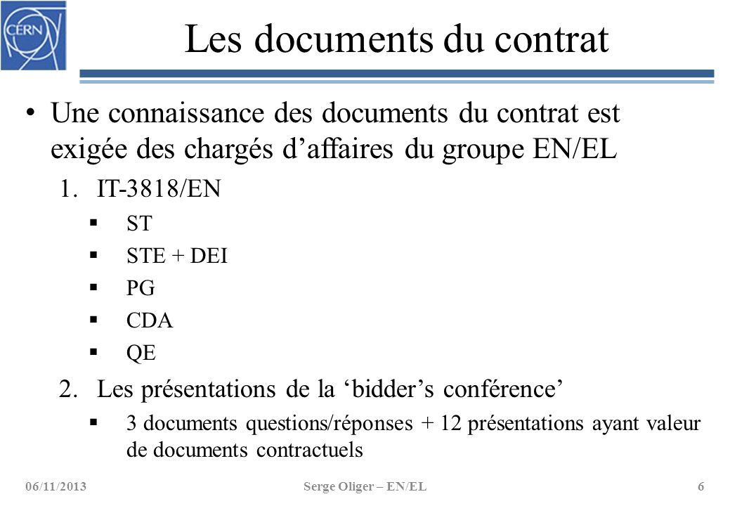 Les documents du contrat