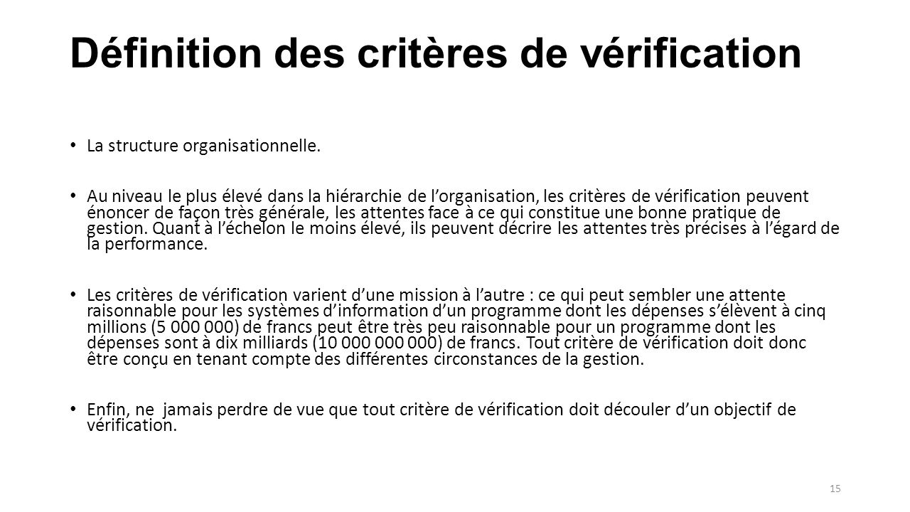 Définition des critères de vérification