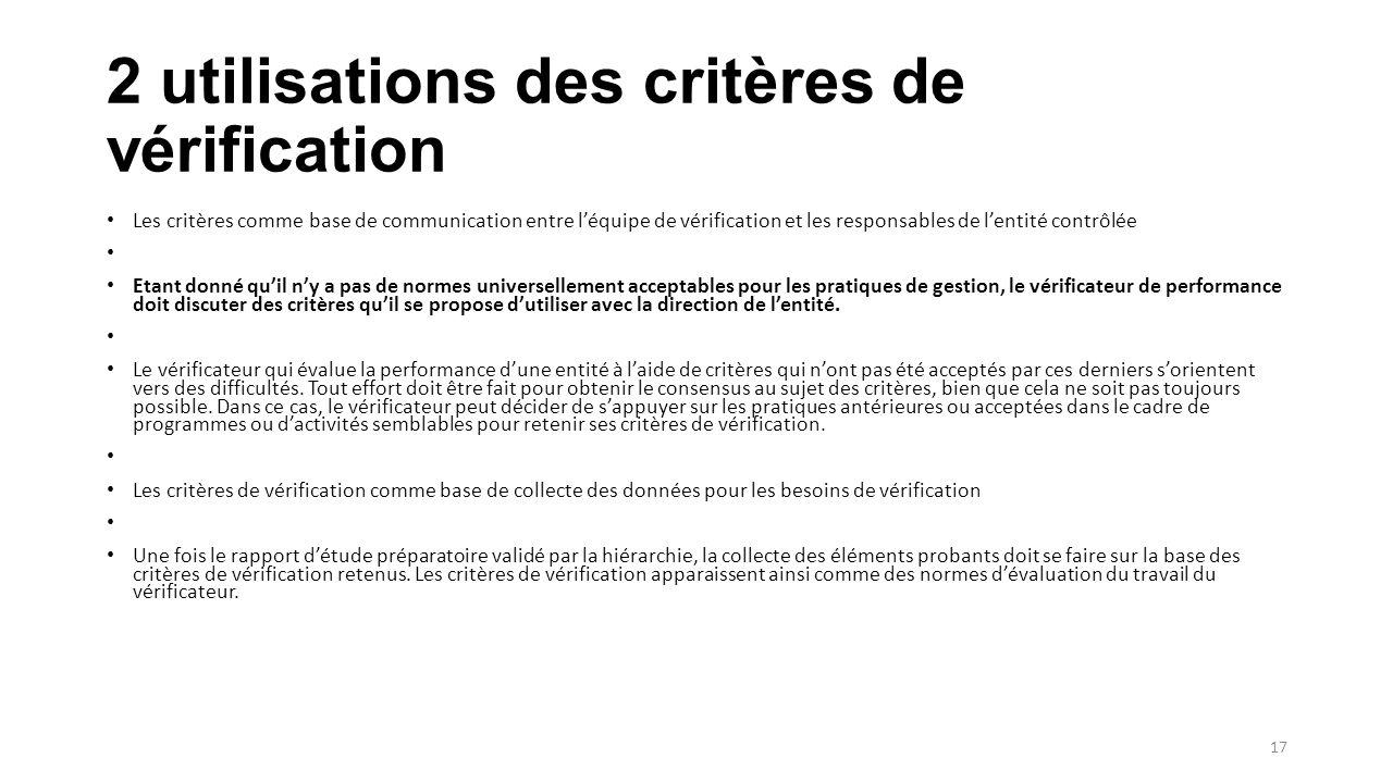 2 utilisations des critères de vérification