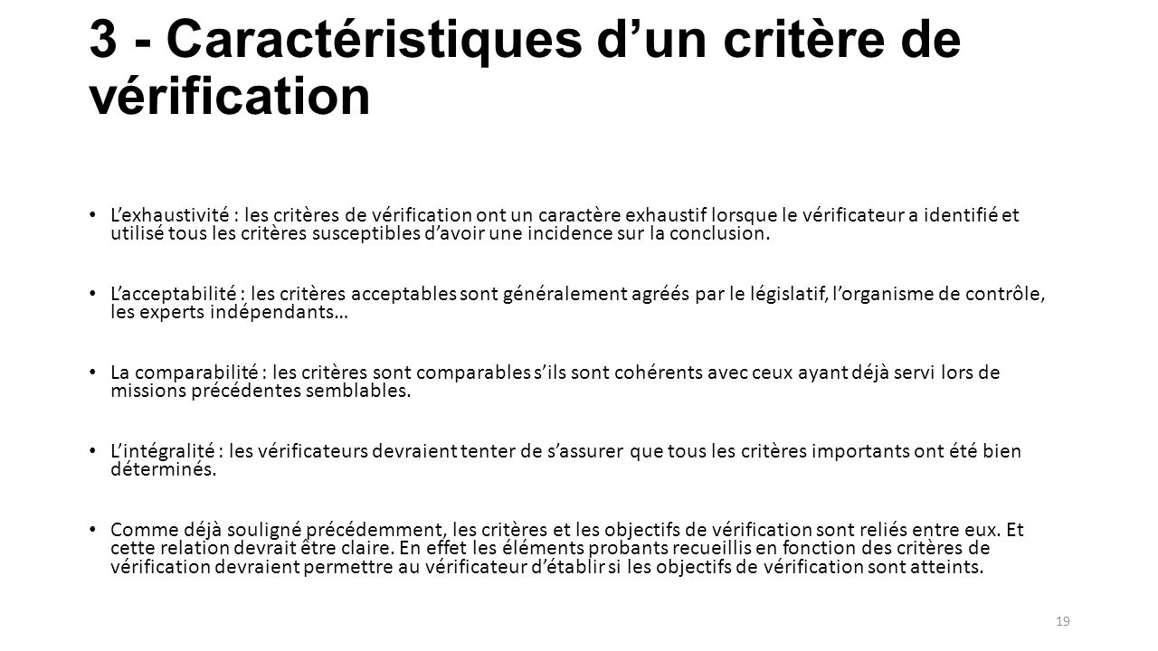 3 - Caractéristiques d'un critère de vérification