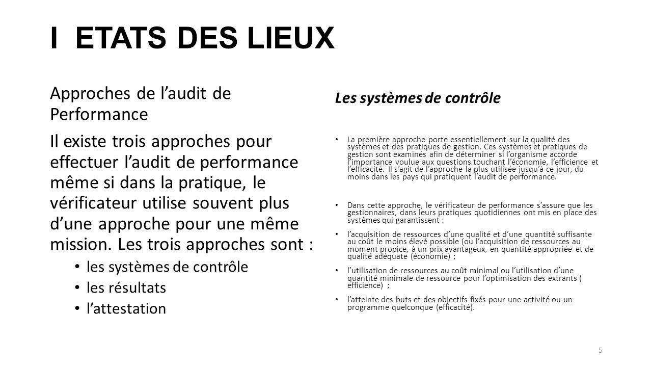 I ETATS DES LIEUX Approches de l'audit de Performance
