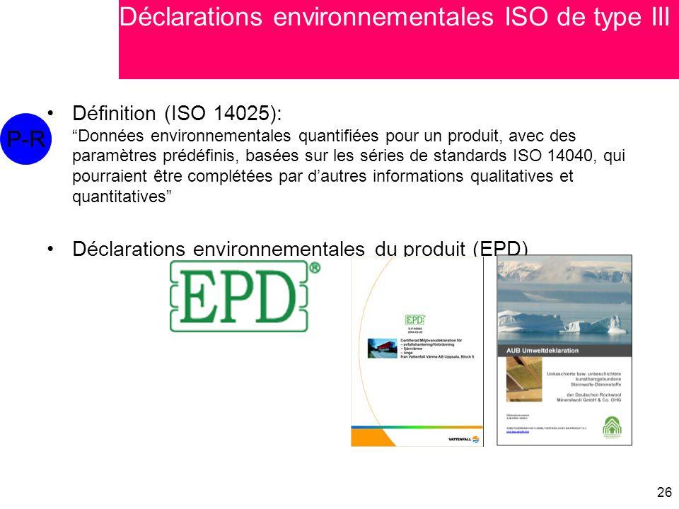 Déclarations environnementales ISO de type III