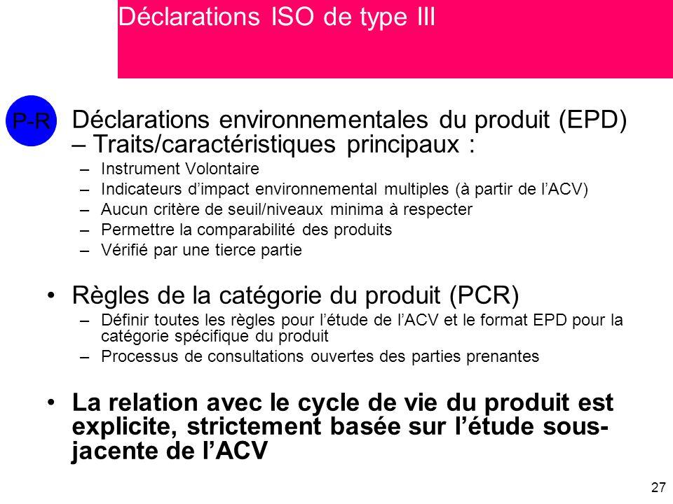 Déclarations ISO de type III