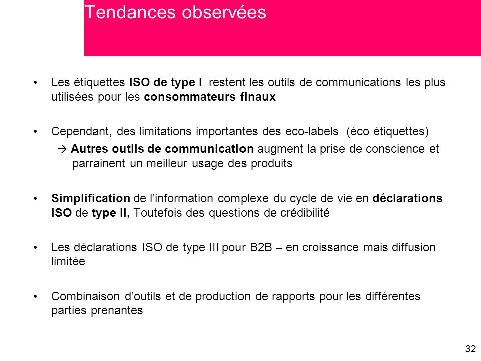 Tendances observées Les étiquettes ISO de type I restent les outils de communications les plus utilisées pour les consommateurs finaux.