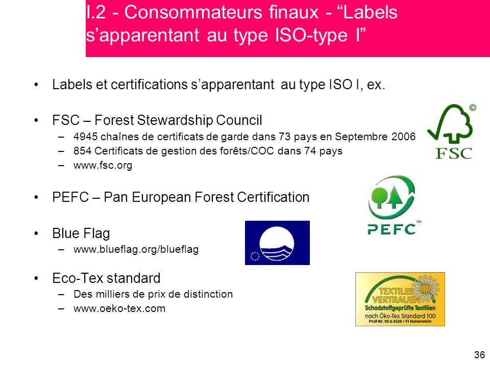 I.2 - Consommateurs finaux - Labels s'apparentant au type ISO-type I