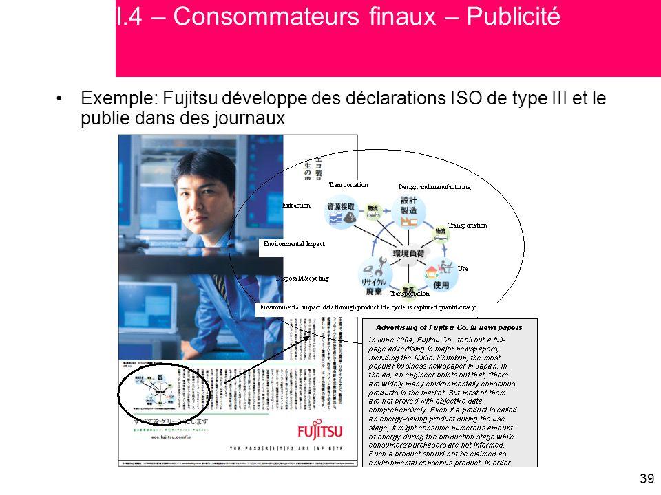 I.4 – Consommateurs finaux – Publicité