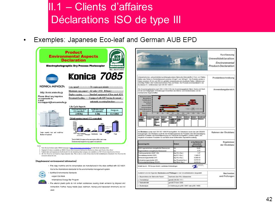 II.1 – Clients d'affaires Déclarations ISO de type III