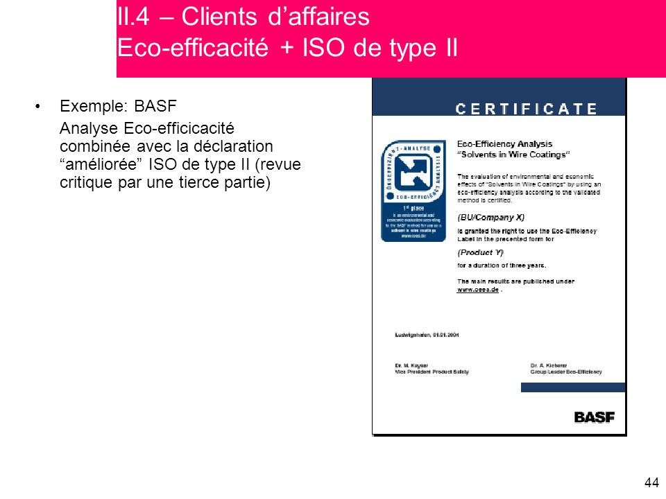 II.4 – Clients d'affaires Eco-efficacité + ISO de type II