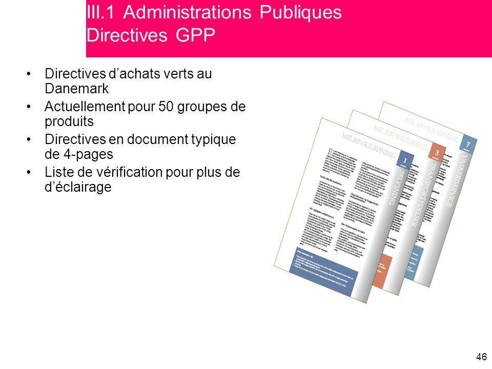 III.1 Administrations Publiques Directives GPP