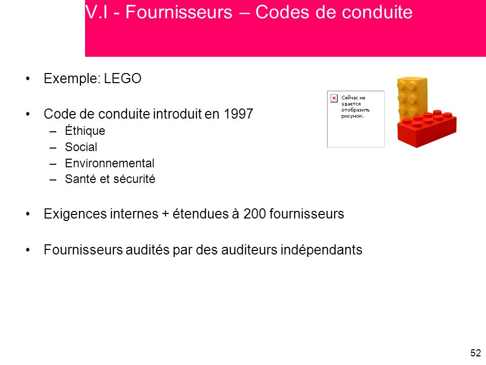 V.I - Fournisseurs – Codes de conduite