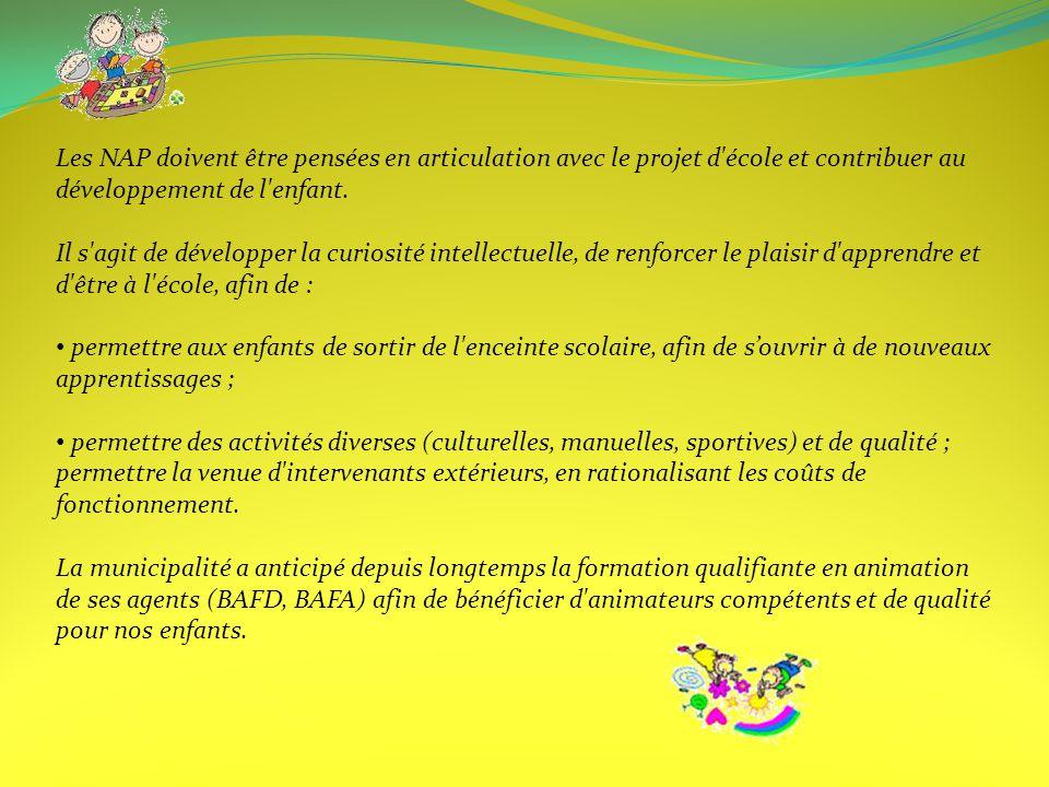 Les NAP doivent être pensées en articulation avec le projet d école et contribuer au développement de l enfant.