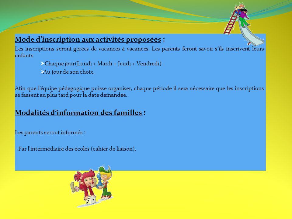 Mode d'inscription aux activités proposées :