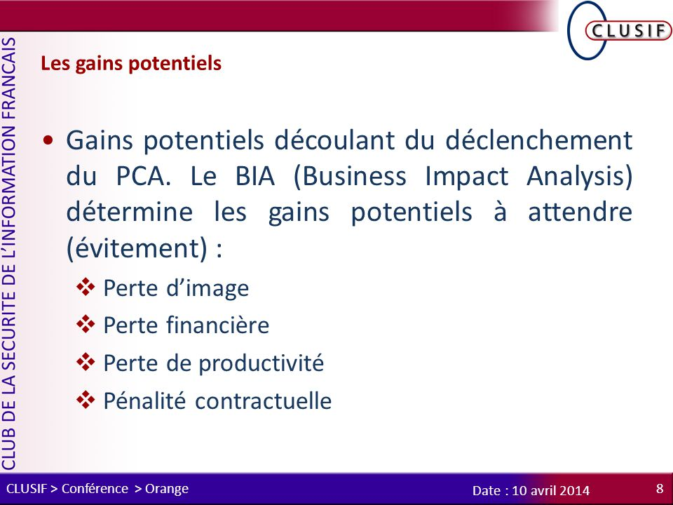 Les gains potentiels
