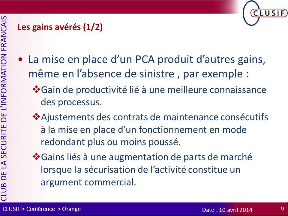 Les gains avérés (1/2) La mise en place d'un PCA produit d'autres gains, même en l'absence de sinistre , par exemple :