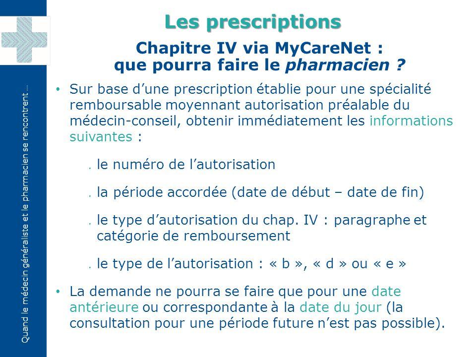 Chapitre IV via MyCareNet : que pourra faire le pharmacien