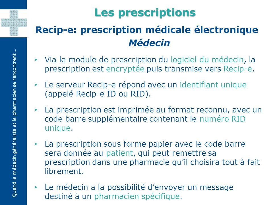 Les prescriptions Recip-e: prescription médicale électronique Médecin