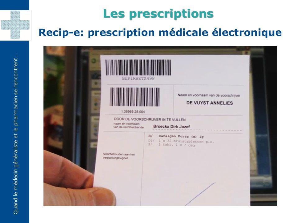 Les prescriptions Recip-e: prescription médicale électronique