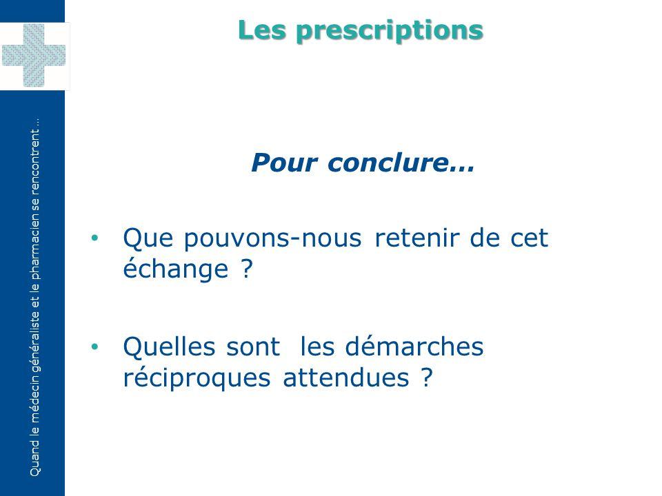 Les prescriptions Pour conclure… Que pouvons-nous retenir de cet échange .