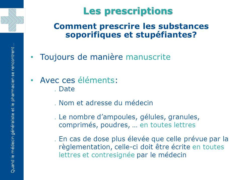 Comment prescrire les substances soporifiques et stupéfiantes