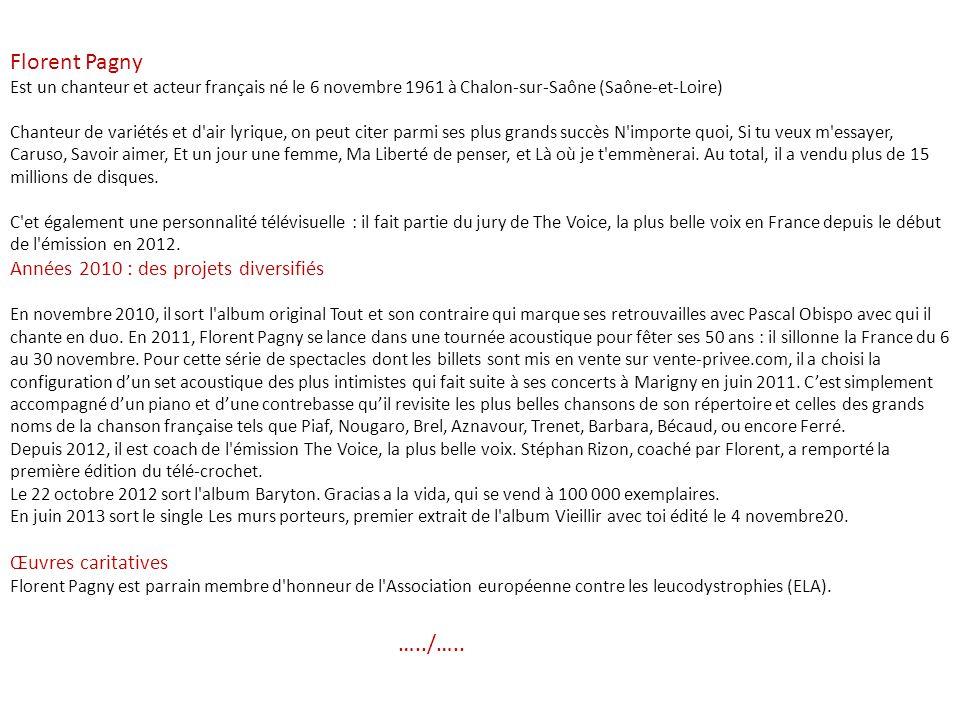 Florent Pagny …../….. Années 2010 : des projets diversifiés
