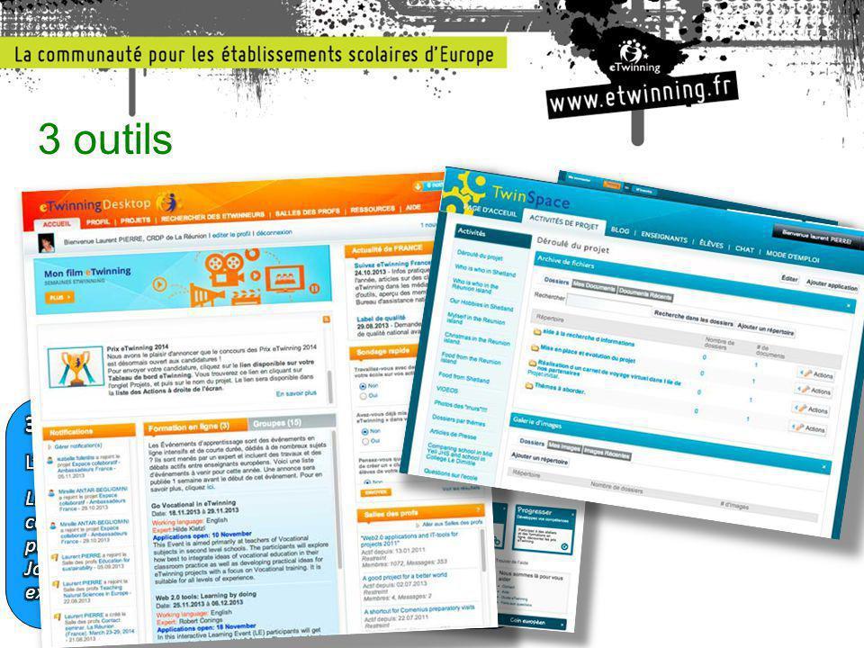 3 outils 1. Les portails publics (.fr et .net) 2. L'espace personnel